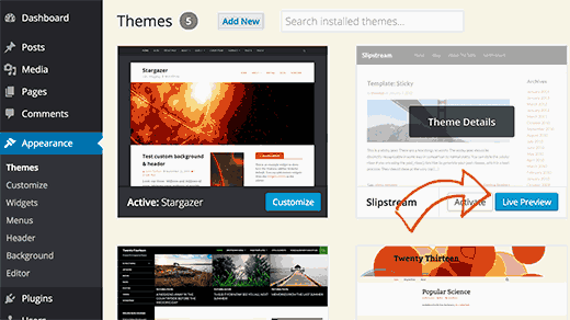 Live preview WordPress theme before activation