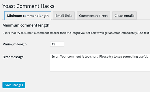 Yoast Comment Hack minimum comment length