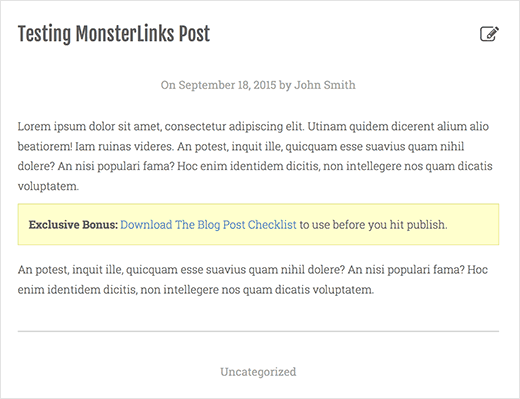 MonsterLink displayed in a yellow box