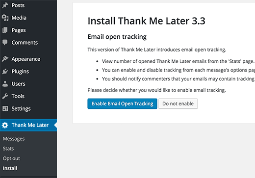 Setting up email open tracking