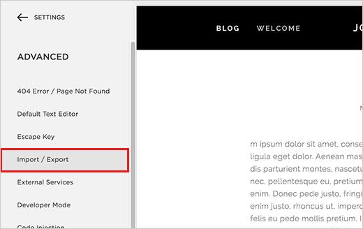 Import/Export menu in Squarespace