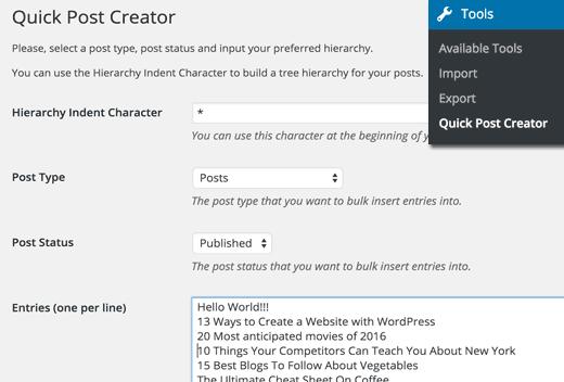 Bulk post creator