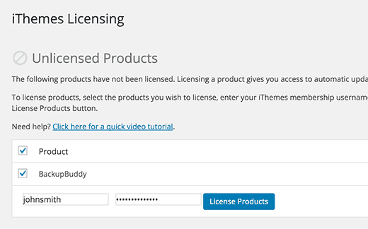 iThemes licensing page
