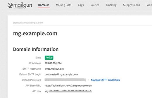 Mailgun API keys