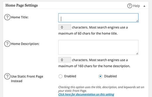 Homepage settings