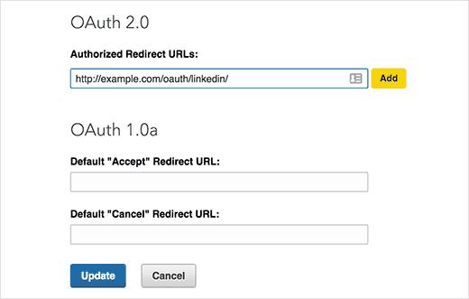 Adding redirect url in LinkedIn app