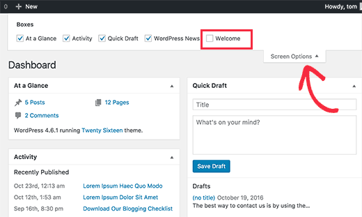Remove welcome panel using Screen Options in WordPress