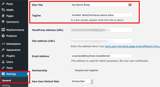 Set your WordPress site title and description