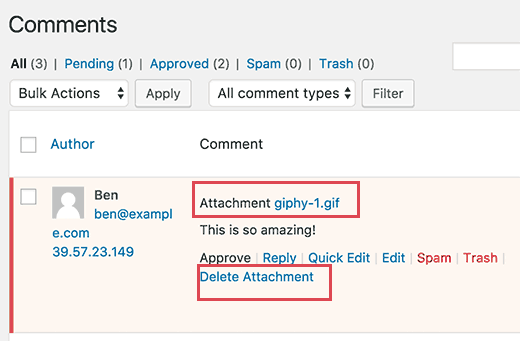 Review and delete attachments when moderating comments in WordPress