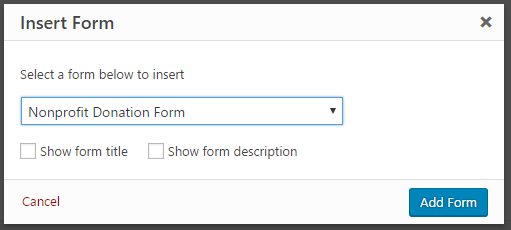inserting your donation form on the WordPress page