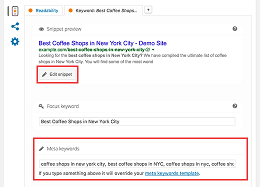 how to add keyword and meta description in wordpress blog post