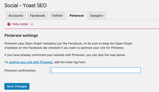 Yoast WordPress SEO plugin - Pengaturan sosial untuk Pinterest