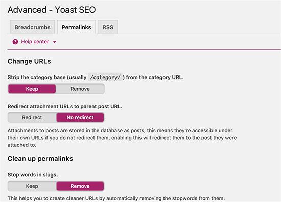 Pengaturan terkait Permalink di WordPress SEO Plugin