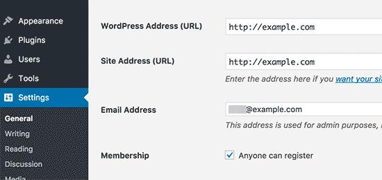 WordPress Site Address
