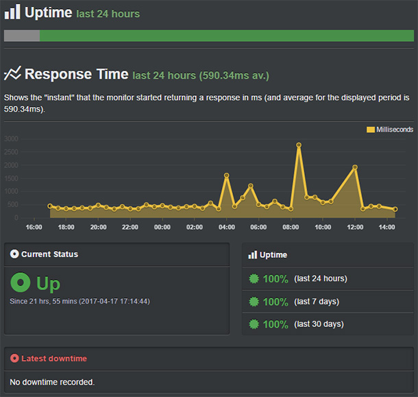 Bluehost server uptime and response time
