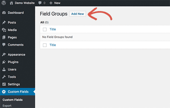 Add new custom fields group