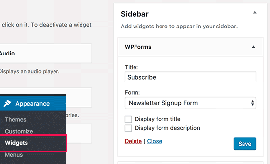 Adding WPForms AWeber sidebar widget