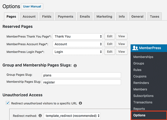 MemberPress settings