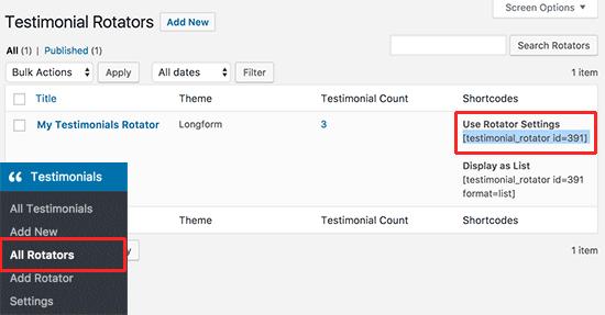 Rotating testimonials shortcode