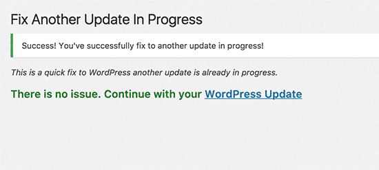 WordPress update lock fixed