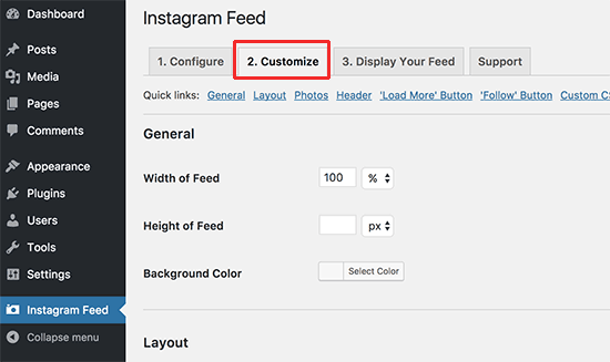 Customize Instagram feed