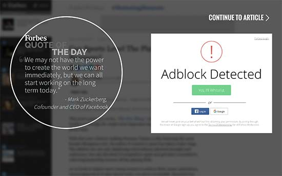 AdBlock wall on Forbes