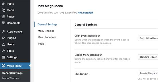 Mega Menu settings