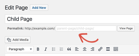 Change child page URL
