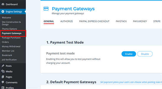 Set up payment metods
