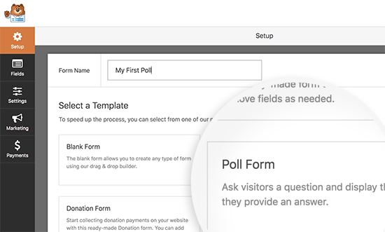 Create a poll form