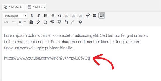 Add video URL to embed video in WordPress