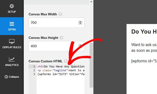 Add login form embed code in modal popup