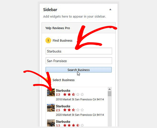 Search business and select from the list