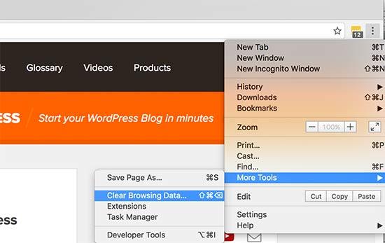 Kosongkan cache browser