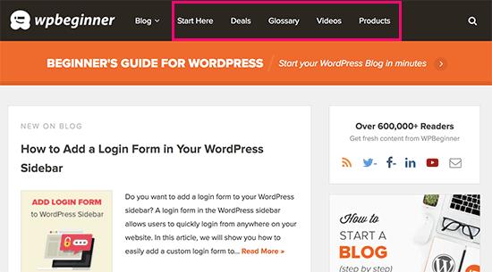 Содержание, не относящееся к блогу, на веб-сайте блога