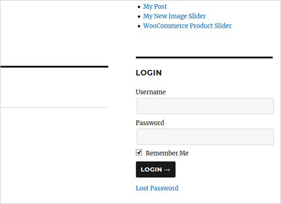 Sidebar login form