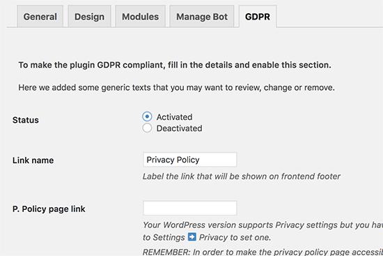 GDPR settings