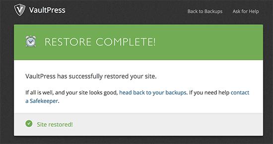 VaultPress restore successful