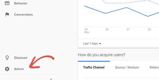 Switch to Google Analytics Admin view