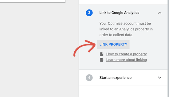 Link Google Analytics property