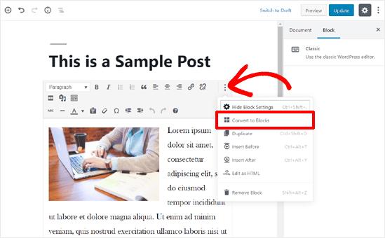 Преобразование старого содержимого публикации в блоки в редакторе блоков WordPress