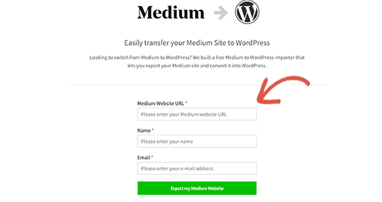 Enter your Medium blog URL