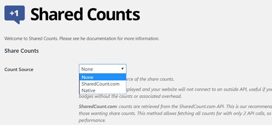Share Counts Source Options