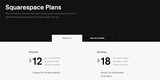 Squarespace pricing plans
