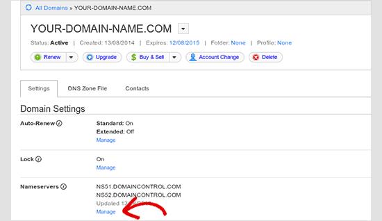 Manage nameserver settings