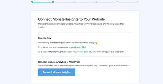 MonsterInsights connection