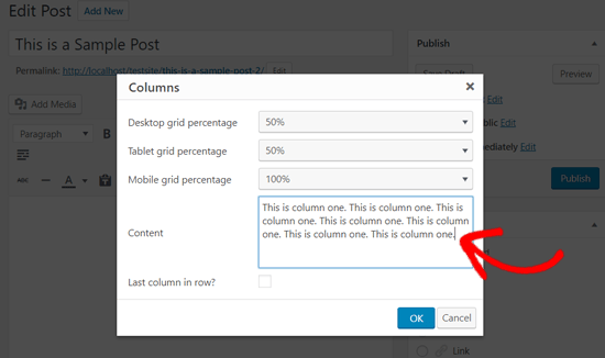 Add Content to Your Column  - Lightweight Grid Columns Plugin