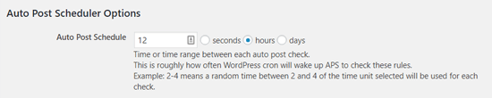 Auto Post Scheduler Time Interval Option