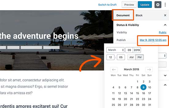 Change publish date for a blog post