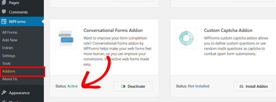 WPForms Conversational Forms addon active